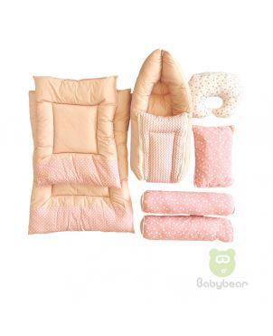 7 in 1 Baby Bedding Set - Pink - Hand Quilts, Baby Carrier, Pillows