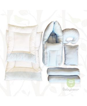 7 in 1 Baby Bedding Set - Blue - Hand Quilts, Baby Carrier, Pillows