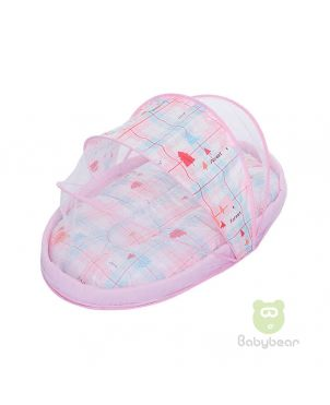 Portable baby travel bed with mosquito net - Forest Pink