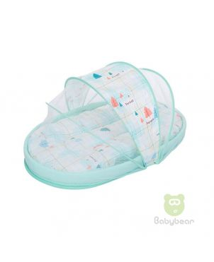 Portable baby travel bed with mosquito net - Forest Blue