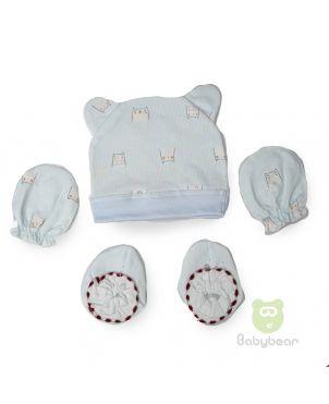 Baby cap, mittens and bootie set - Kitten Design