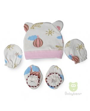 Baby cap, mittens and bootie set - Airplane Design