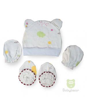 Baby cap, mittens and bootie set - Flowers Design