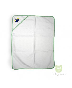 Baby Hooded Towel White with Green Border