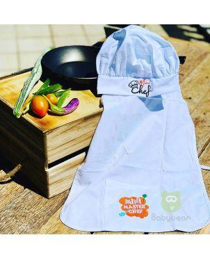 Mini Chef Hat & Apron  - White
