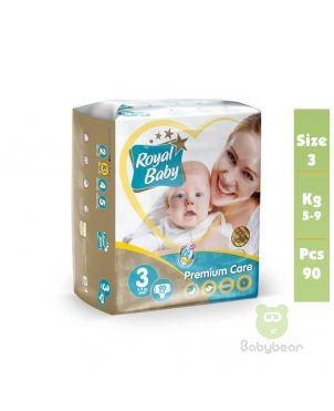 Royal Baby Diapers SIZE 3  PREMIUM 5 to 9 kg 90 Pcs