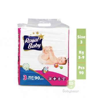 Royal Baby Diapers SIZE 3  5 to 9 kg 90 Pcs
