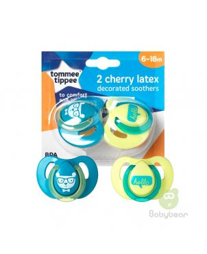 Tommee Tippee 2 Cherry Latex Soothers 6-18m Blue Pacifier